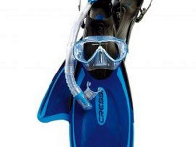 Set máscara, snorkel y aletas largas Palau Cressi Talle XS