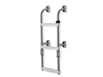 Escalera rebatible inox 3 escalones blanco