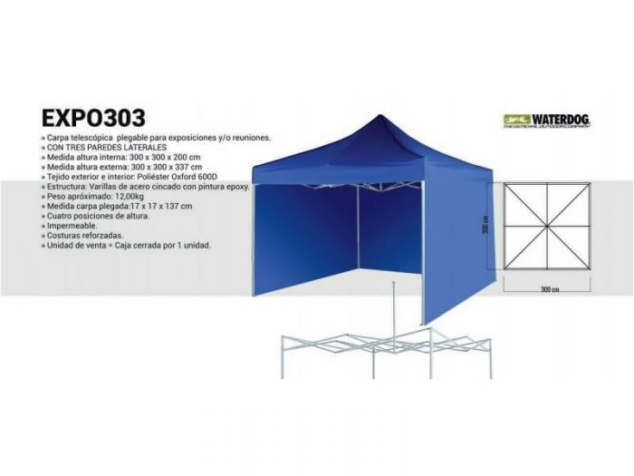 Gazebo automático Expo 3×3 c/paredes Waterdog