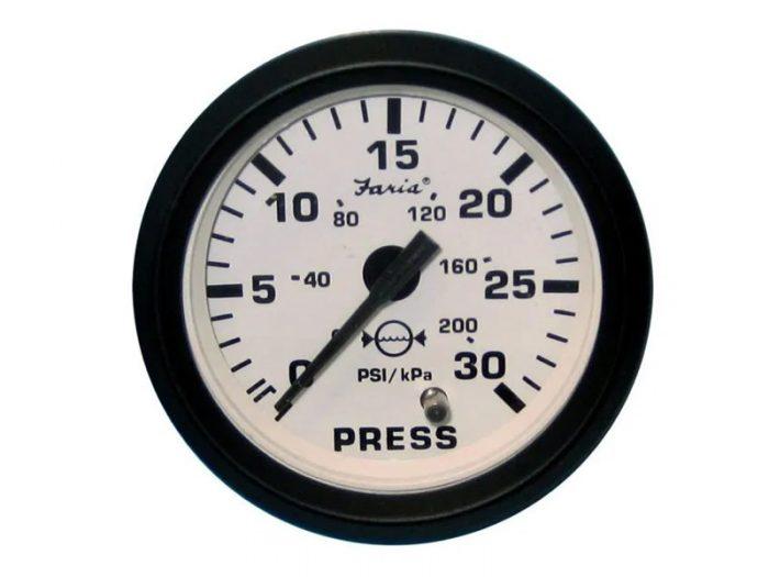 Indicador presión de agua aro negro Faria