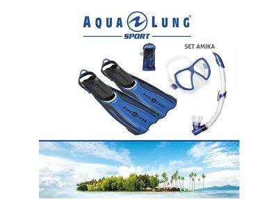 Set Amika máscara+snorkel+aletas Talle L-XL Aqualung