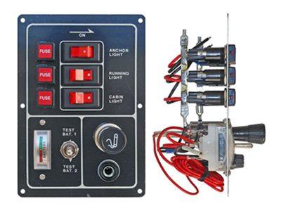 Tablero de 3 puntos voltímetro para 2 baterías, encendido y toma 12V