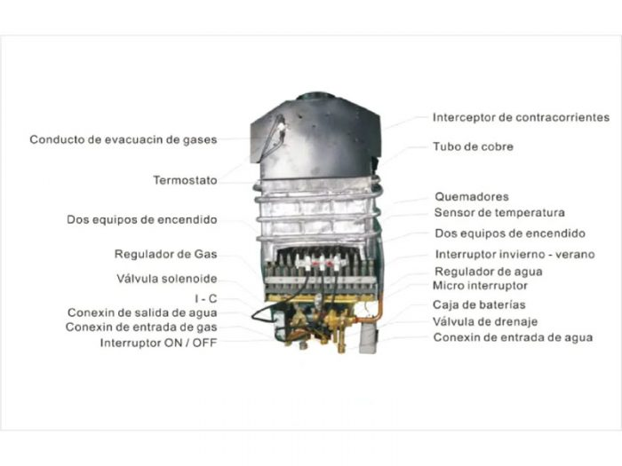 Calefón Bram-Metal 6 litros con encendido automático