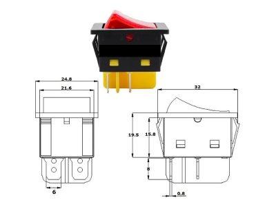 Tecla on/off  inox con luz 12V 20 Amp para embutir Herrcarr